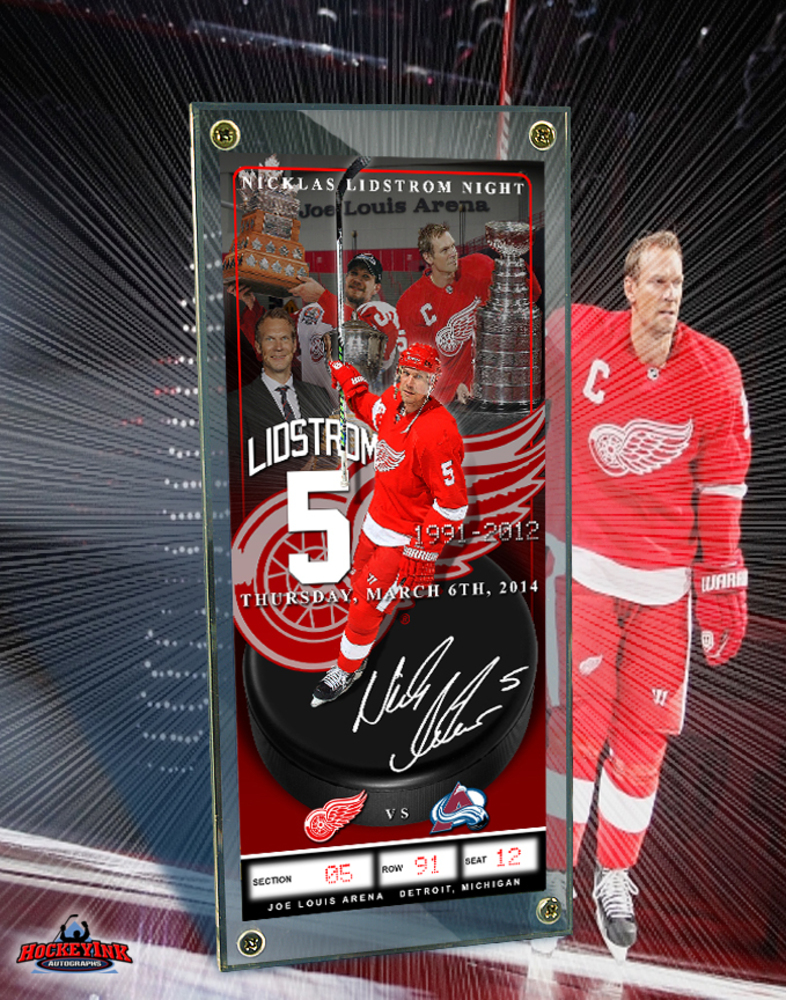 NICKLAS LIDSTROM NIGHT - March 6th, 2014 - Commemorative Ticket w/Foil Stamp Signature & Display Case- Detroit Red Wings