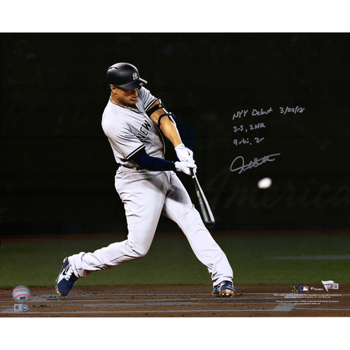 """Photo of Giancarlo Stanton New York Yankees Autographed 16"""" x 20"""" First Yankees Home Run Photograph with Multiple Inscriptions - L. E. of 27"""