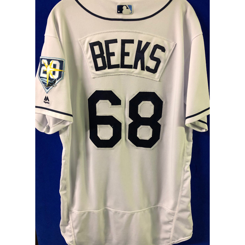 Photo of 20th Anniversary Game Used Home White Jersey: Jaleen Beeks - FIRST MLB SEASON - September 28, 2018 vs. TOR