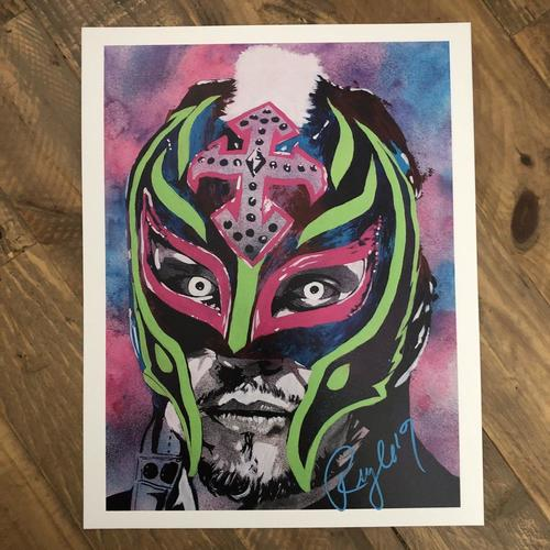 Photo of Rey Mysterio  SIGNED 11 x 14 Rob Schamberger Print