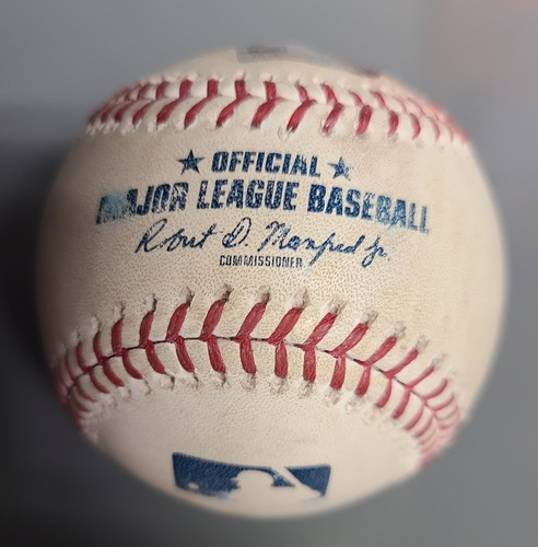 Photo of Authenticated Game Used Baseball: Foul by Jesus Aguilar against Sam Gaviglio (March 25, 2019 vs MIL). Top 1. Spring Training in Montreal.