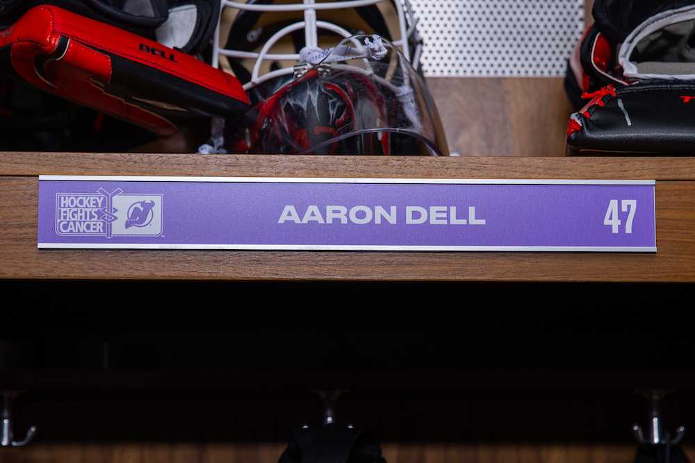 Aaron Dell Autographed 2020-21 Hockey Fights Cancer Locker Room Nameplate - New Jersey Devils