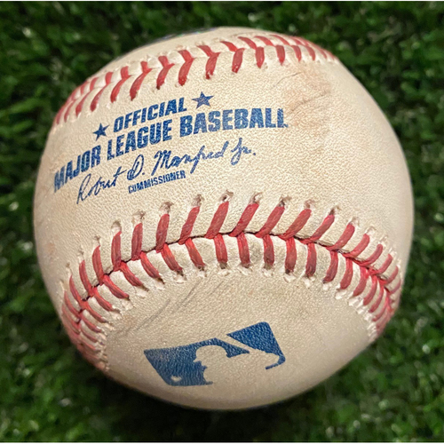 Photo of Ozzie Albies Game-Used Hit Double Baseball - 4/23/21 vs. Arizona Diamondbacks