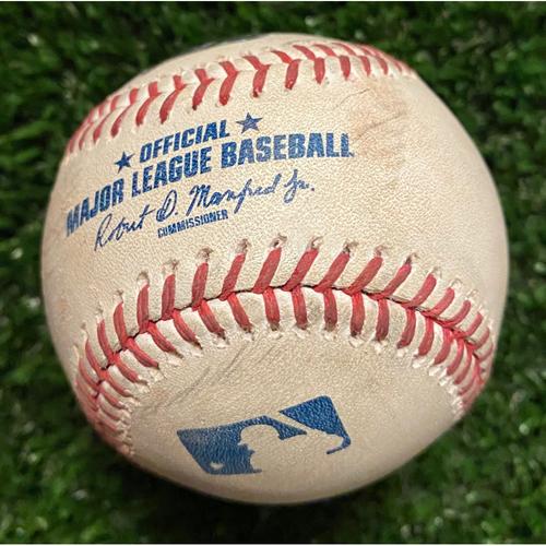 Photo of Ozzie Albies Game-Used Hit Double Baseball - 4/23/21 vs. Arizona Diamondbacks