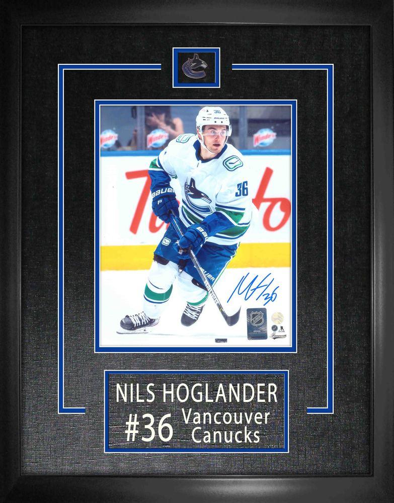 Nils Hoglander Signed 8x10 Etched Mat Vancouver Canucks Photo