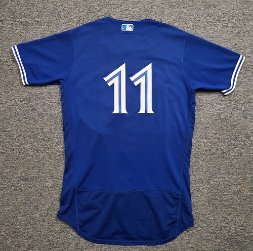 Photo of Authenticated Game Used Spring Training Jersey: #11 Bo Bichette (Mar 28, 2021: 1-for-2 with 1 BB). Size 42.