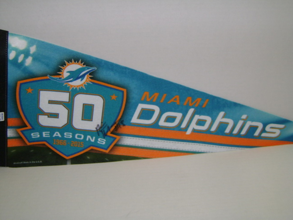 DOLPHINS - RISHARD MATTHEWS SIGNED DOLPHINS PREMIUM PENNANT (CREASES ON PENNANT)