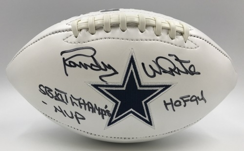 "Photo of Randy White ""SB XII Champs - MVP, HOF 94"" Autographed Dallas Cowboys Football"
