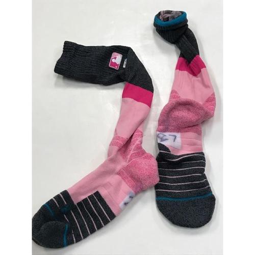 Photo of Game-Worn Jordan Zimmermann Pink Socks