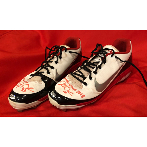"""Photo of Jesse Winker -- Autographed Cleats -- Inscribed as """"Game Used 2018"""""""