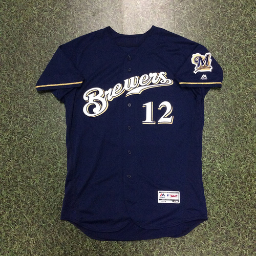 Photo of Stephen Vogt 2017 Team-Issued Navy Alternate Jersey