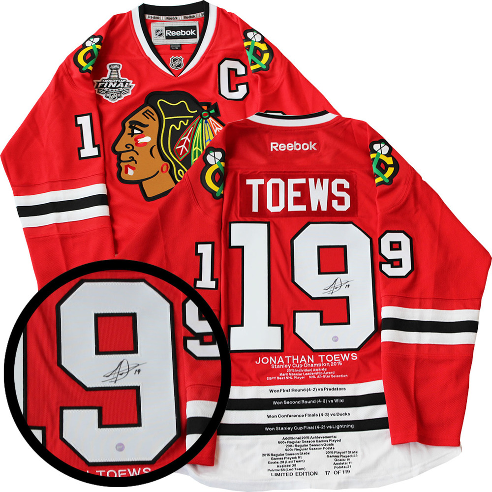 Jonathan Toews Signed Milestone Jersey Blackhawks Replica Red Reebok 2015 Cup LE 119