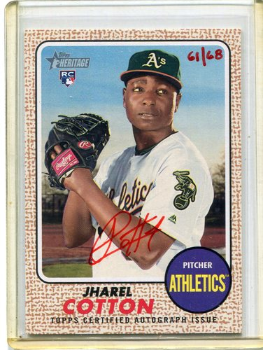 Photo of 2017 Topps Heritage Real One Autographs Red Ink #ROAJC Jharel Cotton