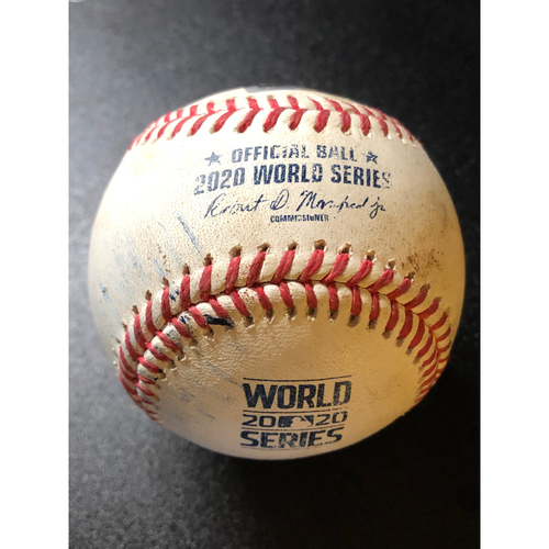 Photo of Game-Used Baseball - 2020 World Series - Los Angeles Dodgers vs. Tampa Bay Rays - Game 5 - Pitcher: Tyler Glasnow, Batters: Mookie Betts (Fly Out to LF), Corey Seager (2 Pitches, Ball) - Top 2