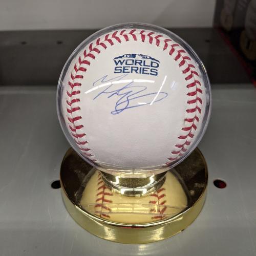 Photo of Mookie Betts Autographed 2018 World Series Baseball