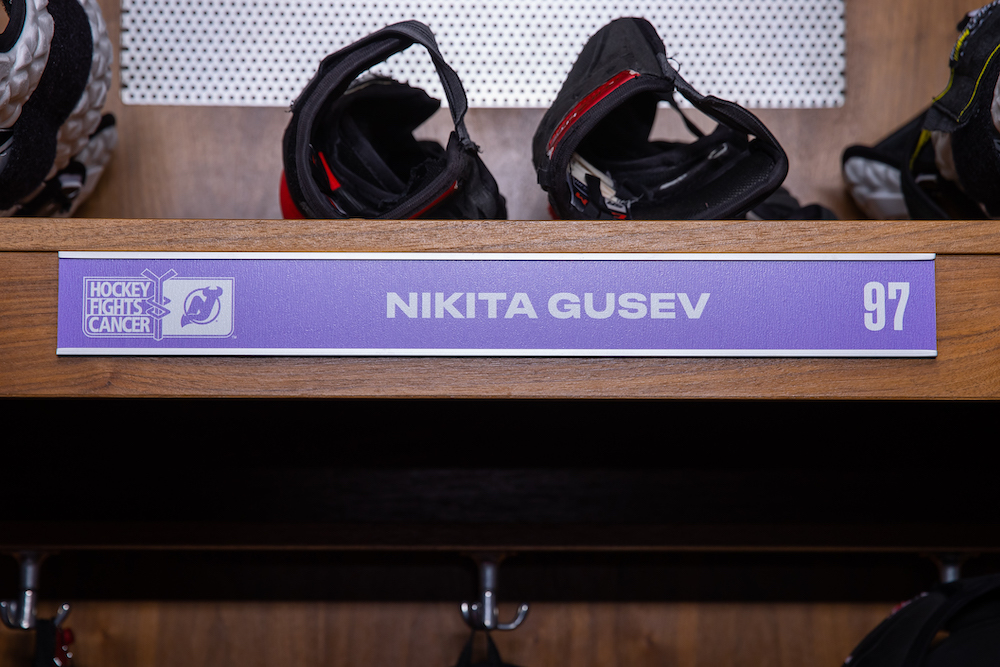 Nikita Gusev Autographed 2020-21 Hockey Fights Cancer Locker Room Nameplate - New Jersey Devils