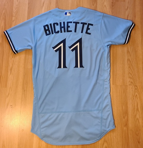 Photo of Authenticated Game Used Jersey: #11 Bo Bichette (May 18, 2021: 1-for-4 with 1 Double, 1 Run, 1 RBI and 1 BB). Size 42.