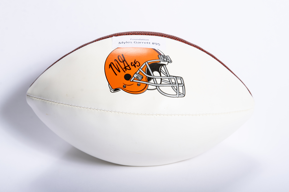 Browns - Myles Garrett White Panel Football
