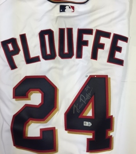 Trevor Plouffe Autographed Authentic Twins Jersey - Paint Pen Mark on Jersey - Discounted