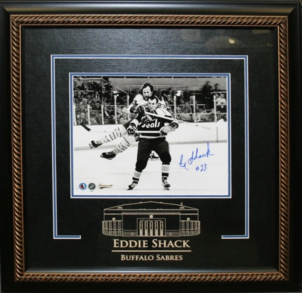 Eddie Shack Signed 8x10 Etched Mat Sabres Flying Check