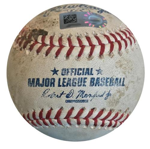 Photo of Game-Used Baseball from Pirates vs. Cubs on 5/28/18 - Anthony Rizzo Single