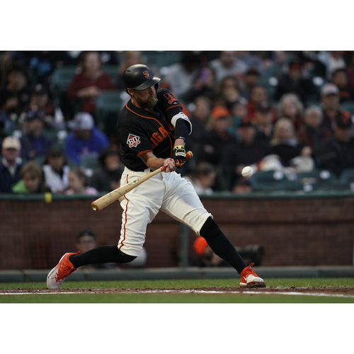"Photo of San Francisco Giants - 2018 Black Alternate ""Gigantes"" Game-Used Jersey - Hunter Pence - 1 for 3, RBI (size 48)"
