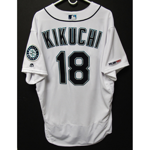 Photo of Yusei Kikuchi Game-Used Home White Jersey - Athletics vs. Mariners - 5/13/19