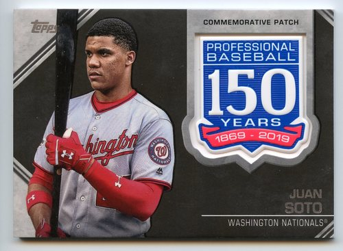 Photo of 2019 Topps 150th Anniversary Manufactured Patches #AMPJS Juan Soto S2