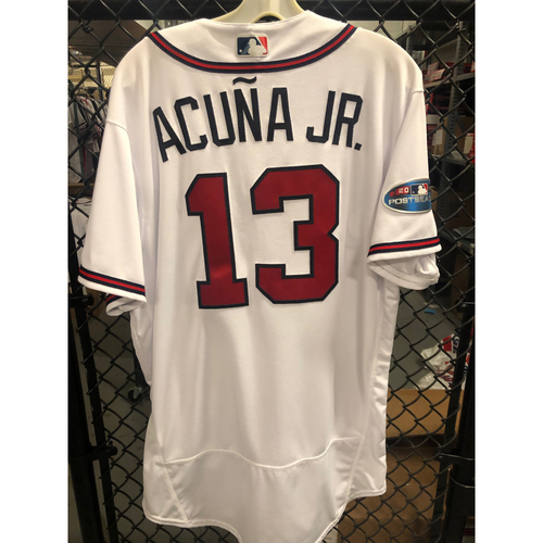 Ronald Acuna, Jr. Game Used NLDS Jersey - Worn 10/8/2018 Game 4. 2018 NL Rookie of the Year