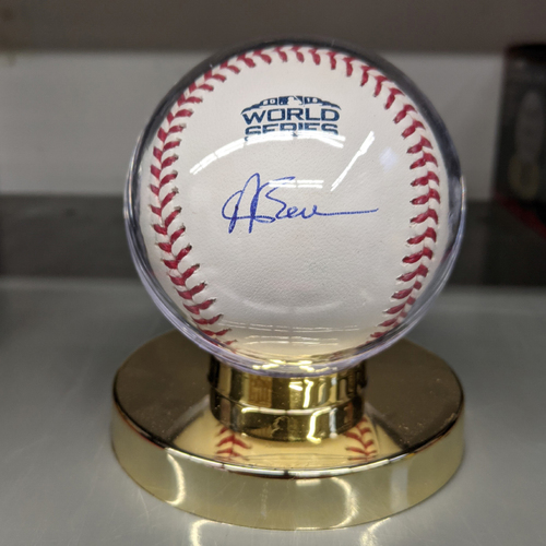 Photo of Andrew Benintendi Autographed 2018 World Series Baseball
