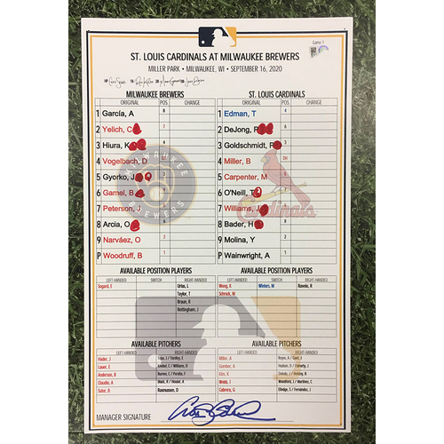 Photo of STL@MIL 09/16/20 (Game 1) Game-Used Lineup Card - Adam Wainwright 7.0 IP, 4 H, 2 ER, 1 BB, 9 SO, Win (5-1)