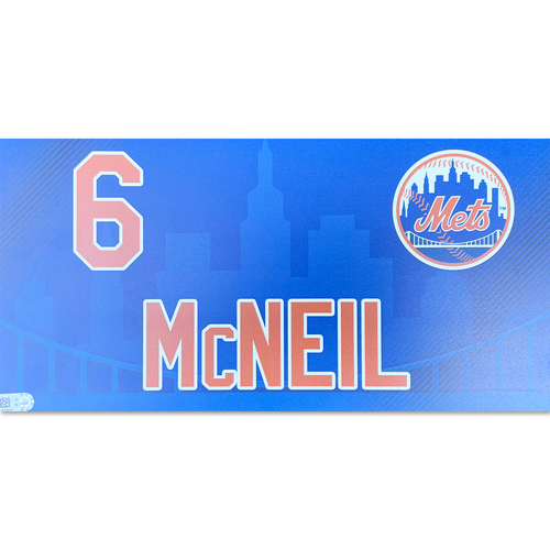 Photo of Jeff McNeil #6 - Game Used Locker Nameplate - 2019 Regular Season Mets Home Opener - Mets vs. Nationals - 4/4/19