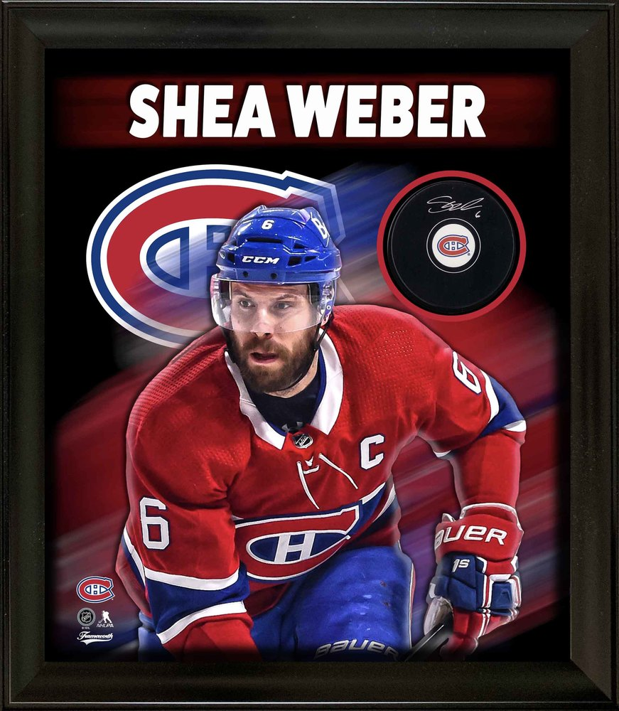 Shea Weber Signed Montreal Canadiens Puck Framed PhotoGlass