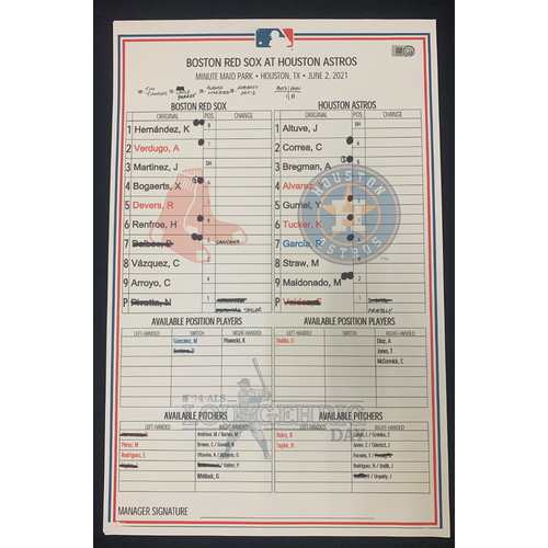 Photo of Boston Red Sox at Houston Astros June 2, 2021 Game Used Lineup Card - Astros Win 2 to 1