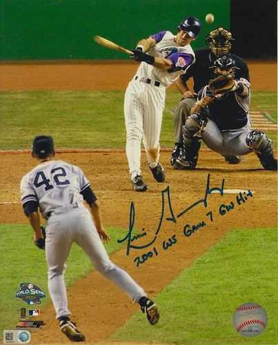 "Photo of Luis Gonzalez ""2001 WS Game 7 GW Hit"" Autographed 8x10"