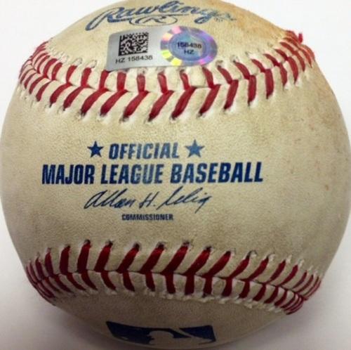 Game Used Baseball: Jarred Cosart pitching to Freddie Freeman Wild Pitch (6/26/14)
