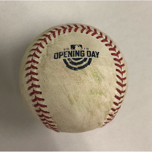 Photo of Rays vs Red Sox April 5, 2018 Game-Used Opening Day Ball