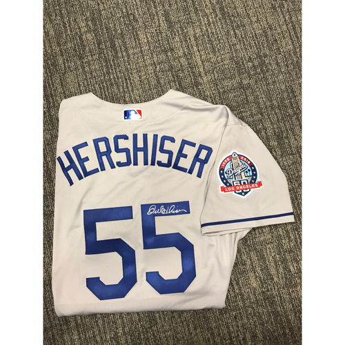 Photo of LADF Blue Diamond Gala Auction: Orel Hershiser Authentic Autographed Jersey (Size 48) - Worn during Dodgers 2018 Alumni Game
