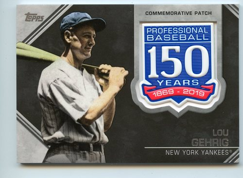 Photo of 2019 Topps 150th Anniversary Manufactured Patches #AMPLG Lou Gehrig S2