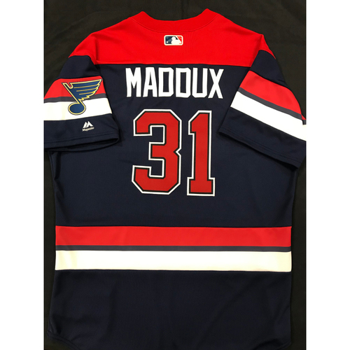 Photo of Mike Maddux Team Issued 2019 St. Louis Blues Themed Cardinals Jersey (Size 46)