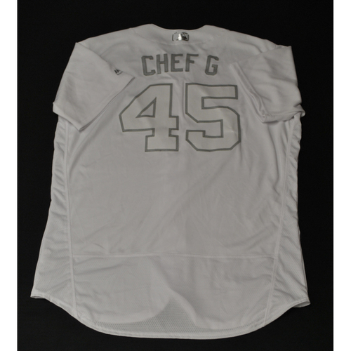 "Photo of Gerrit ""CHEF G"" Cole Houston Astros Game-Used 2019 Players' Weekend Jersey"