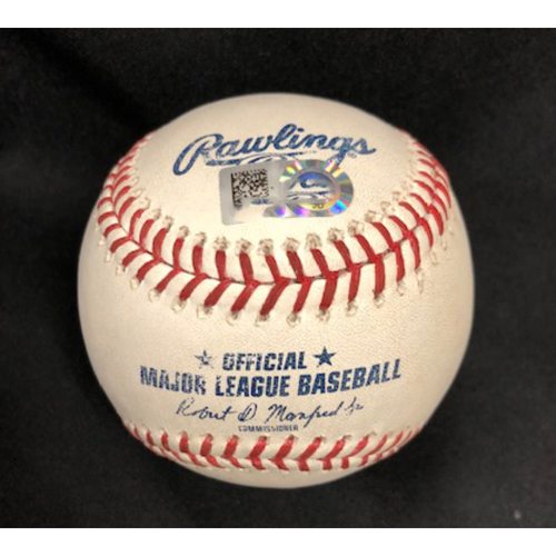 Photo of Game-Used Baseball -- 04/25/2018 - ATL vs. CIN - 9th Inning - Shackleford to Albies (HBP) *Ronald Acuna Jr Major League Debut*