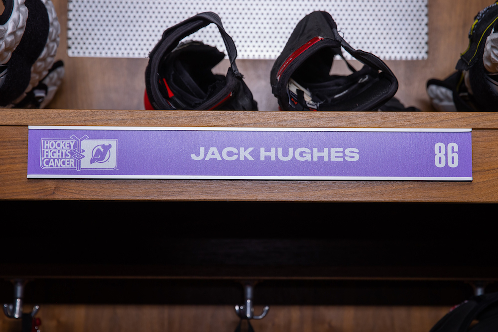 Jack Hughes Autographed 2020-21 Hockey Fights Cancer Locker Room Nameplate - New Jersey Devils