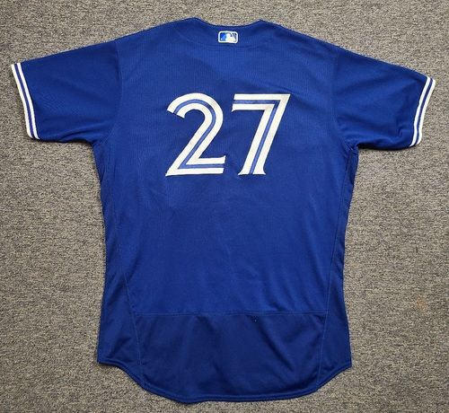 Photo of Authenticated Game Used Spring Training Jersey: #27 Vladimir Guerrero Jr. (Mar 26, 2021: 1-for-3 with 1 HR, 1 Run, 1 RBI and 1 BB). Size 48.