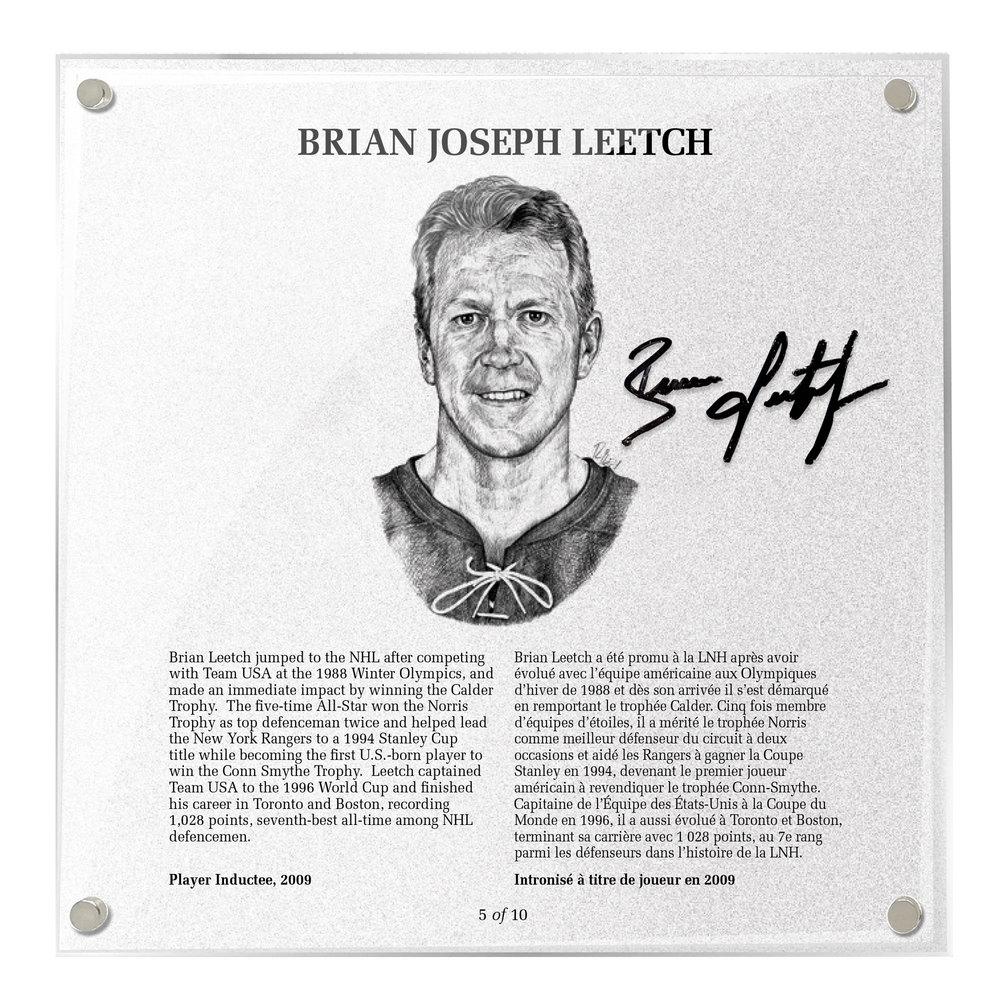 Brian Leetch Autographed Legends Line Honoured Member Plaque - Limited Edition 4/10