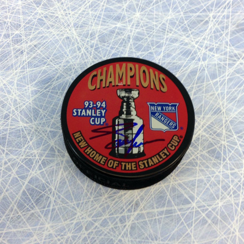 Adam Graves New York Rangers Autographed 1994 Stanley Cup Puck