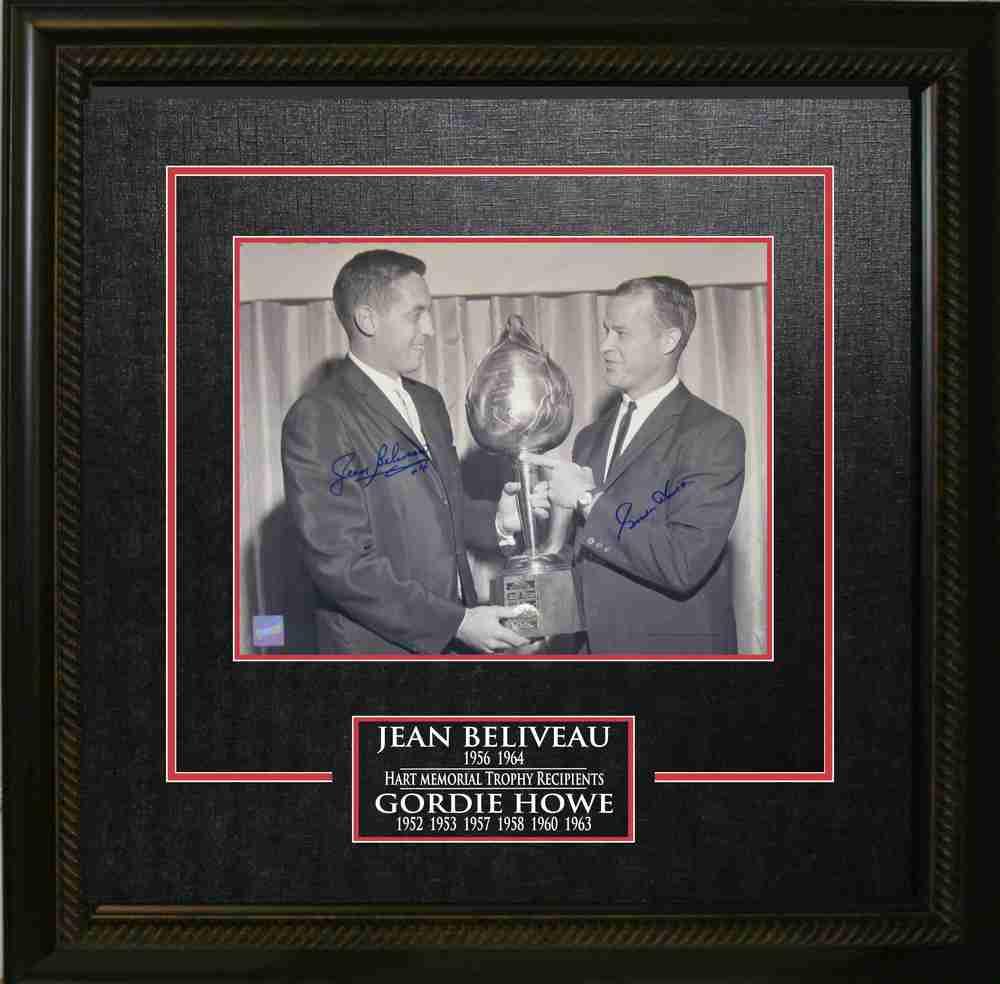 Gordie Howe and Jean Beliveau Dual-Signed Hart Trophy