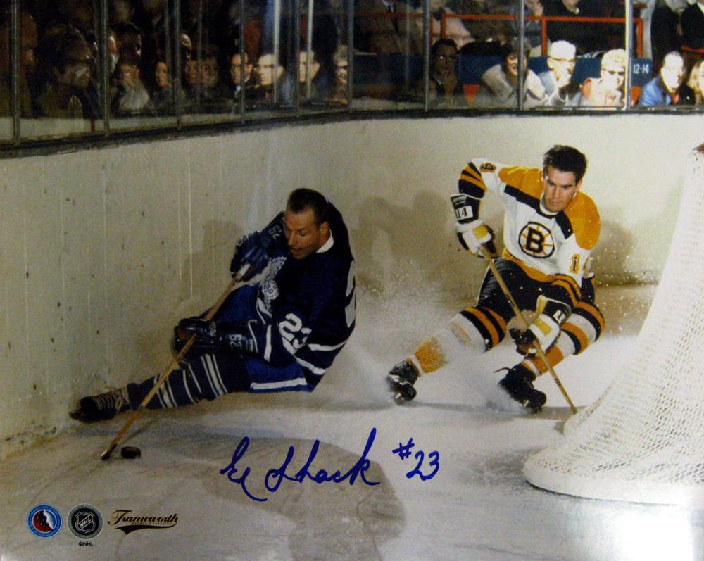 Eddie Shack - Signed 8x10 Photo - Toronto Maple Leafs Behind Net