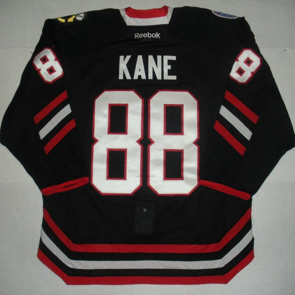 2f5d733ced1 Patrick Kane - 2014 Stadium Series - Chicago Blackhawks - Black Game-Worn  Jersey - Worn in First Period