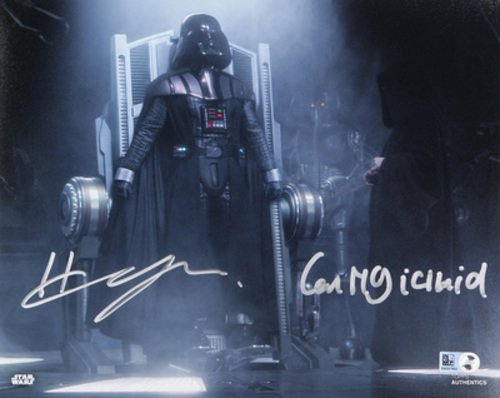 Hayden Christensen as Anakin Skywalker and Ian McDiarmid as Darth Sidious 8x10 Dual Autographed in Sliver Ink Photo
